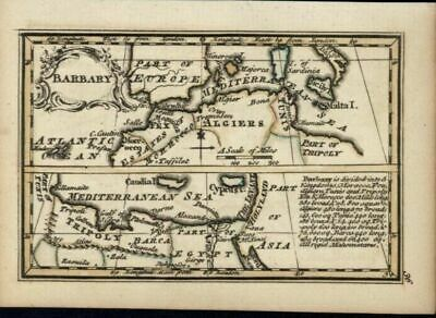 Barbary North Africa Cyprus island Algiers 1758 Bowen miniature antique map