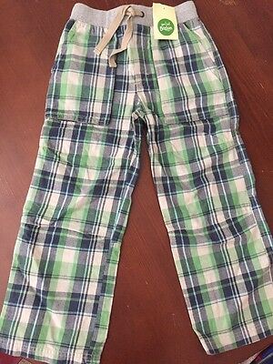 New with Tags Boys Mini Boden Size 7Y Blue & Green Plaid Cotton Pants
