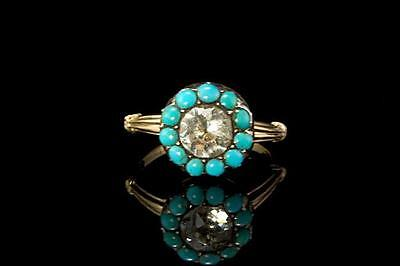Antique Georgian Persiam Turquoise Diamond Paste 14K Gold Ring (041717125)