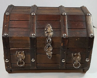 Vintage Large Wood Pirates Lion Head Treasure Chest Jewelry Box