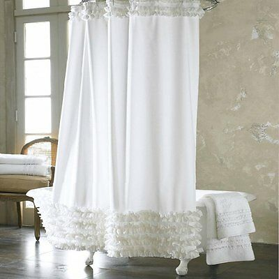 Eanshome solid white ruffles polyester fabric water repellent bathroom shower