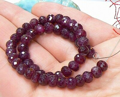 """RARE NATURAL FACETED RUBY BEADs RUBIES 8.5"""" STRAND 98ct 6mm by 4.2-4.8mm"""