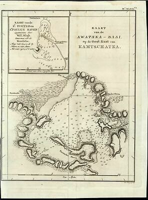 Awatska Bay Eastern Coast of Kamchatka Russia 1803 antique Capt. Cook rare map