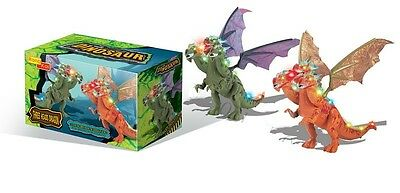 Walking Dinosaur 3 Headed Dragon Kids Light Up Toy Figure Sounds Movement LED