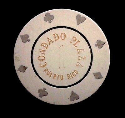 CONDADO PLAZA Casino WHITE #1 Roulette Poker Chip SAN JUAN Puerto Rico Bud Jones