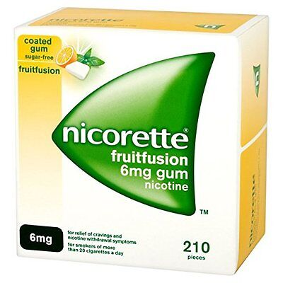 Nicorette Fruitfusion Gum 6 mg, 210 Pieces * Brand New * Fast Delivery