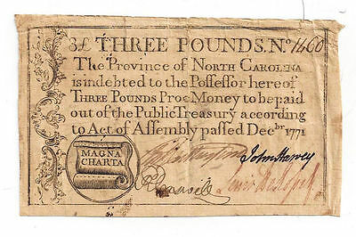 1771 North Carolina Colonial Currency- Three Pounds Note No.1460