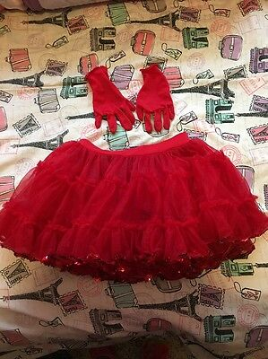 Girls Dance Costume Red Skirt With Gloves Sz Small Child