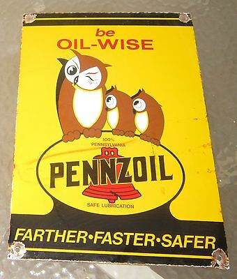 "Genuine vintage porcelain double-sided sign ""be oik-wise  Pennzoil"""