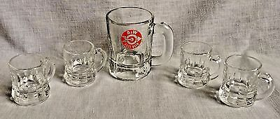 1960s Small A & W Glass Root Beer Mug Arrow Logo + 4 Clear Federal Baby Mugs