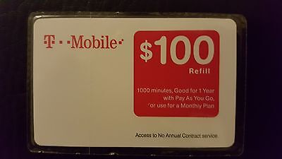 T-MOBILE $100 PREPAID REFILL CARD, New Unscratched, Fast email or mail