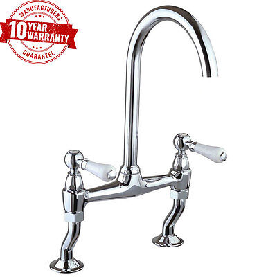 Traditional Georgian 2 Hole Bridge Kitchen Sink Mixer Tap White Levers Chrome