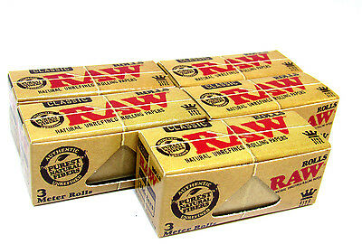 RAW 3 Meter Rolls - King Size - 5 Packs - USA - Rolling Papers Unrefined NEW