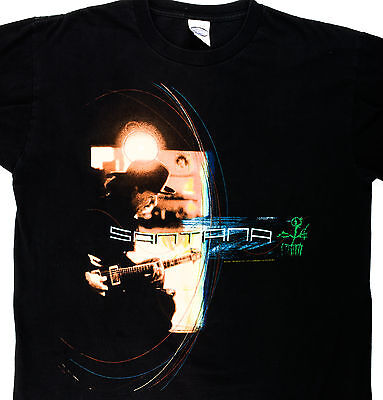 Santana All Is One 2002 Tour T-Shirt Size Large GUC Black Tour Cities On Back