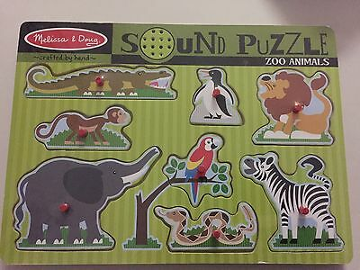 NEW MELISSA & Doug Zoo Animals Sound Puzzle Elephant Zebra Lion Monkey  Snake NIP