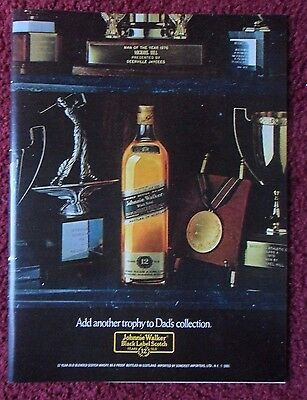 1981 Print Ad Johnnie Walker Black Label Scotch Whisky ~ Dad's Trophy Collection