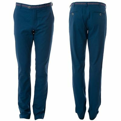 Gabicci Vintage Mens Blue Twill Pants Long Leg Designer Trousers Sizes 32L- 40L