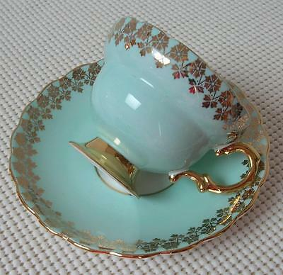 China FOOTED TEA CUP & SAUCER by ROSINA #3179 Turquoise Blue Gold Footed &Trim