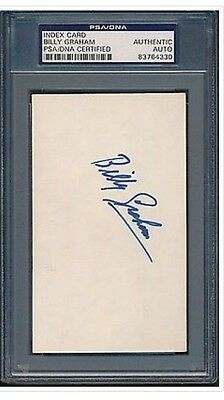 BILLY GRAHAM Index Card PSA DNA Certified Authentic Auto Autograph Signed RARE !