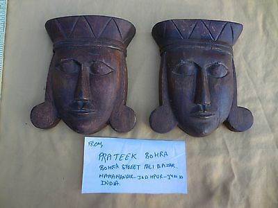 Antique Wooden Hand Carved Tribal Face Wall Hanging Plaque Paperweights India