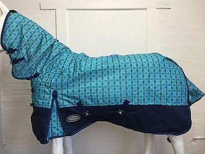 AXIOM 1200D R/S BLUE CHECK/NAVY 300gm PADDOCK COMBO HORSE RUG - 5' 9