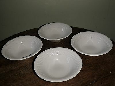 "4 Oneidacraft Weave White 6 3/8"" Coupe Cereal Bowls"