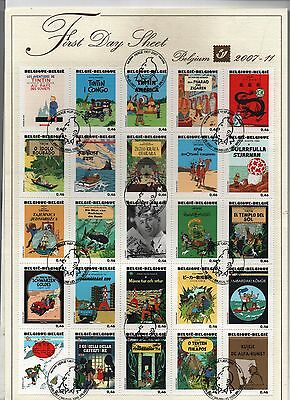 Timbres Tintin. Plaquette First Day Sheet : 25 timbres Tintin. Poste Belge 2007