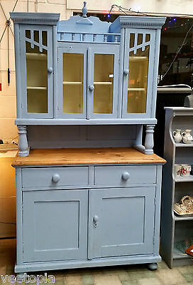 antique pine dresser - painted - original features glass in doors - lovely