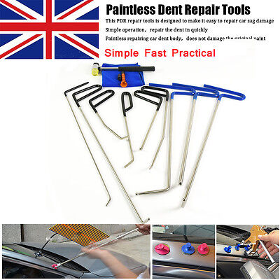 9x rods PDR tools puller stainless steel paintless repair kit  removal hail ding