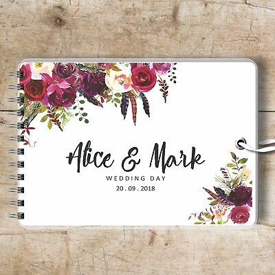 Personalised Wedding Guest Book Boho Rose, Photo Album, Blank Book, Memory Album