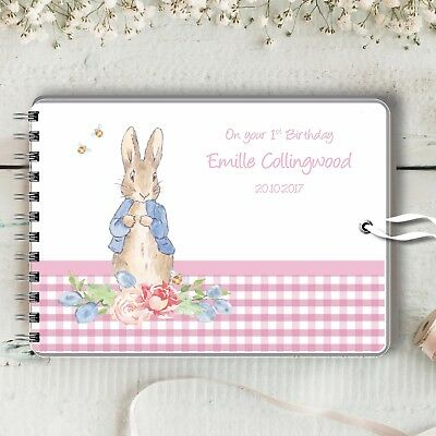 Personalised Guest Book Peter Rabbit Pink Naming Christening Baptism Baby Shower