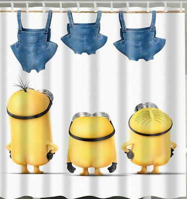 Minions Doing Their Washing Bathroom Shower Curtain Polyester Hooks