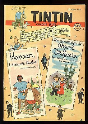 Journal de TINTIN belge  1948   n°17  Couverture de HERGE