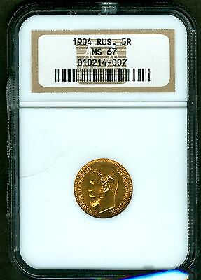 Ngc Ms 67 Russian Gold Roubles,ruble   1904