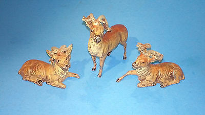 Vintage Cast Metal Buck/Deer Figurines Figures Lying Down/Standing Germany Putz?