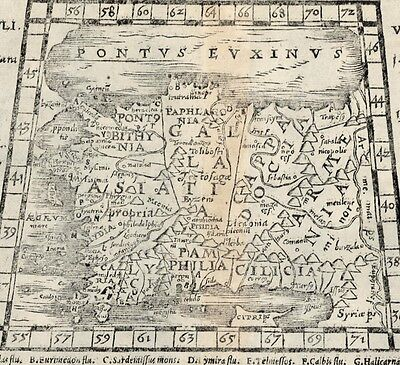 Turkey Cyprus Pamphylia Armenia 1579 by Petri nice scarce antique woodblock map