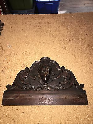 "1920's 13 5/8"" Carved Wood Pediment W/man Bust Medallion"