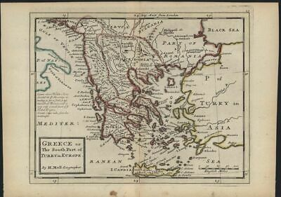 Greece Turkey in Europe Romania Macedonia 1732 Moll antique map old hand color