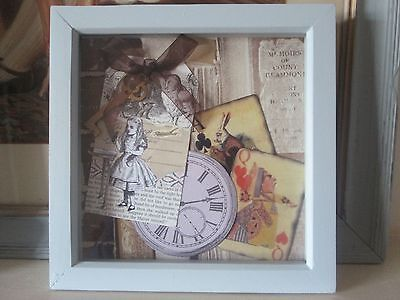 Alice in Wonderland vintage style assemblage picture in box frame