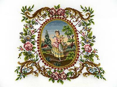 "Vintage Country French Romantic Garden Girl Needlepoint Tapestry 30"" x 30"""