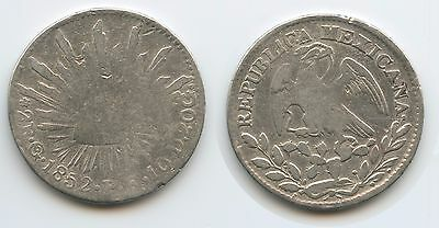 G2800 - Mexiko 2 Reales 1852 G° PF KM#374.8 Silber Mexico City Mint