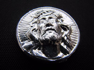 HACMint 2.6 oz 999+ Fine Silver JESUS High Relief Hand Poured ART BAR ROUND