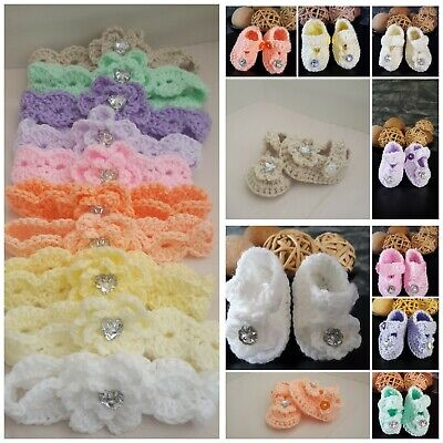 Handmade crochet baby girl / baby reborn booties early baby Newborn - 12months