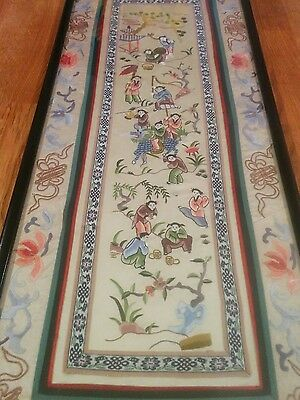 Antique Chinese long embroidered textile picture panel 1900s