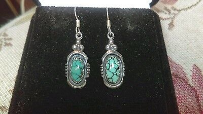 Vintage Navajo Small Gem Grade Cloud Mountain Turquoise Sterling Silver Earrings