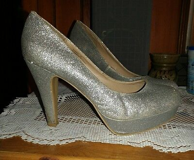 f43677c10ca MADDEN GIRL SILVER Glitter Cleary High Heels Size 10 -  11.00