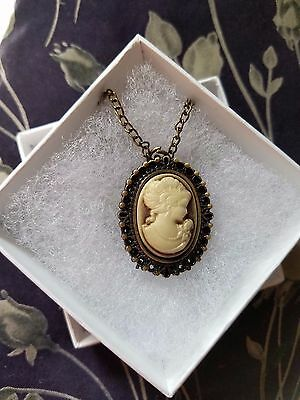 Exp SHIP! CAMEO New Vintage Pocket Watch Necklace-Stainless Steel Back -Quartz