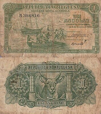 Angola-Portuguese, 1 Angolar Banknote,1948 Choice Very Good Condition Cat#70-816