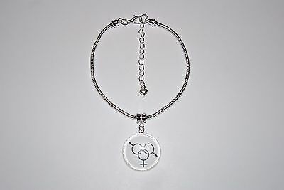 Threesome Charm Euro Anklet Ankle Chain Jewellery Swinger Hotwife Swinger UK