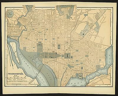 Vintage Street Map 1903 WASHINGTON DC/DISTRICT OF COLUMBIA Potomac River